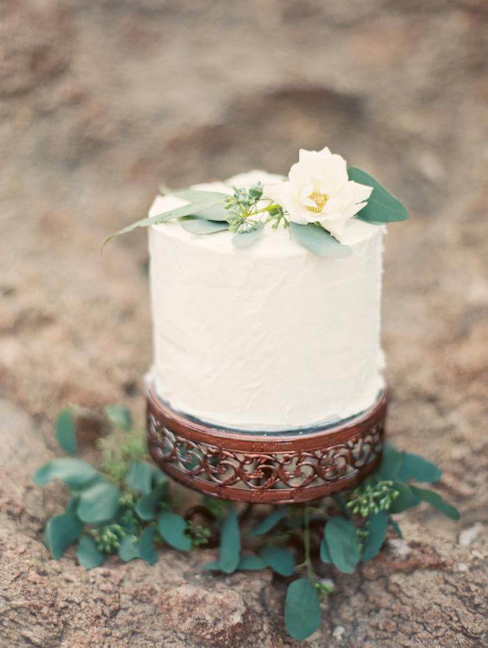 Single Tier White & Green Wedding Cake