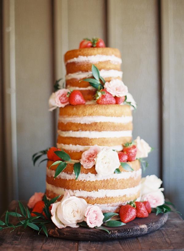 Strawberry Tall Naked Wedding Cake