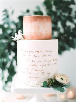 Watercolour Script Wedding Cake