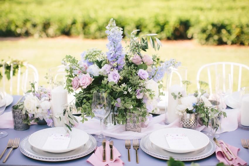Pale Purple Floral Wedding Centrepiece // Photography ~ White Images