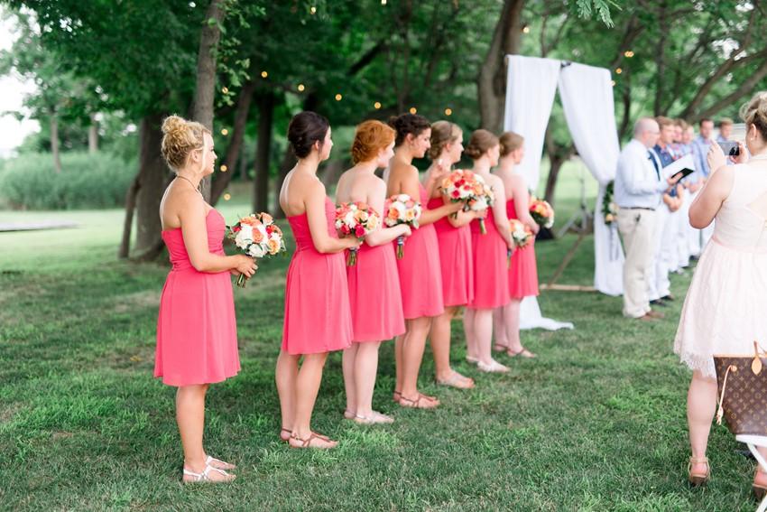 Nautical Wedding Coral Bridesmaids // Photography ~ Anna Kardos