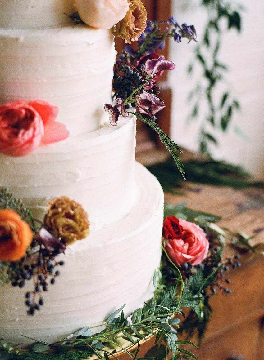 Flower Adorned Wedding Cake // Photography ~ Whitney Neal