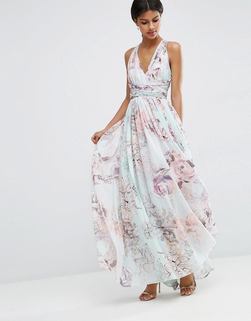 Rose Print Maxi Bridesmaid Dress Chic Vintage Brides