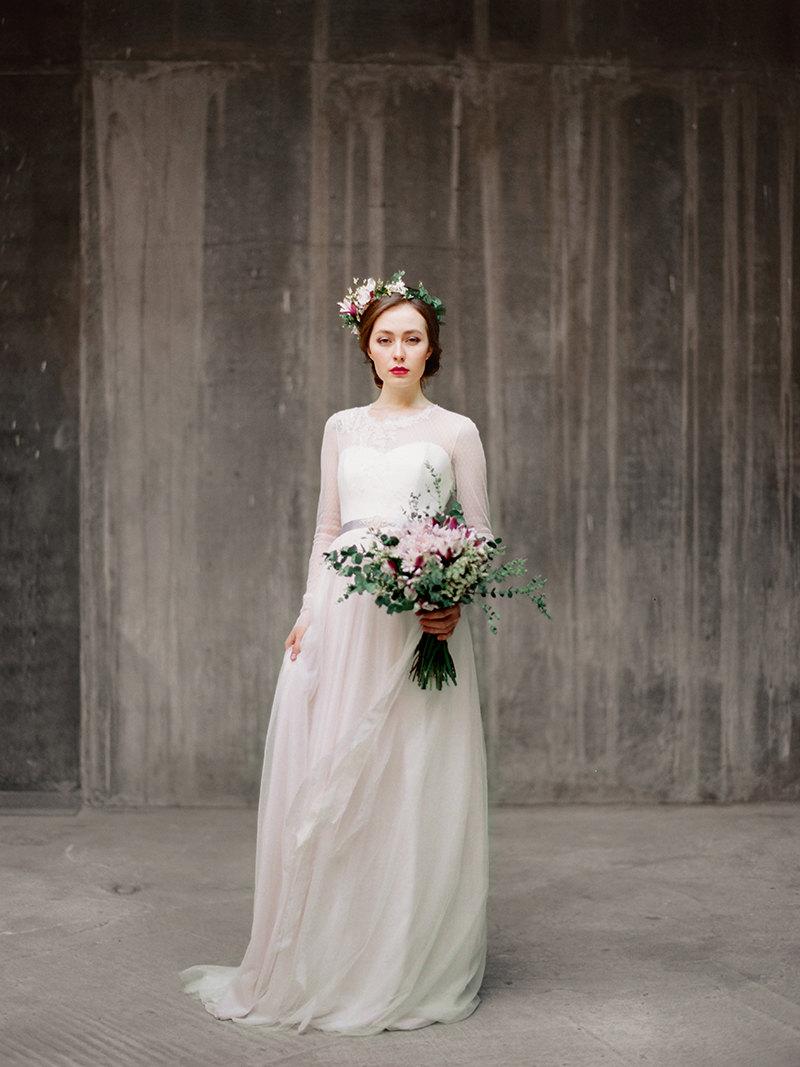 'Agnia' Long Sleeve Wedding Dress