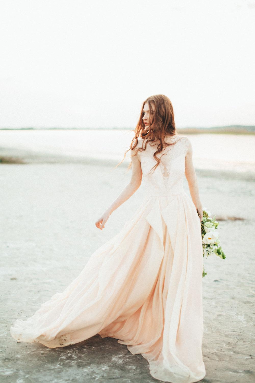 Champagne Chiffon Wedding Dress
