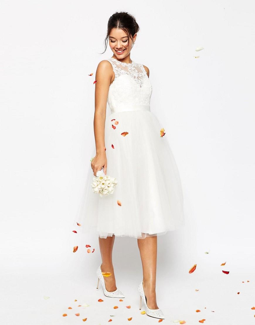 Lace Sweetheart Tea Length Wedding Dress