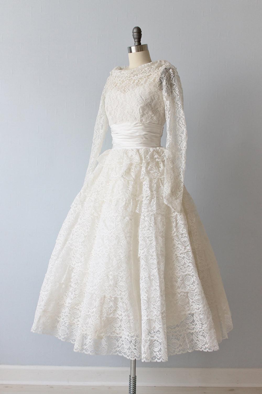 Vintage Tea Length 1950s Wedding Dress