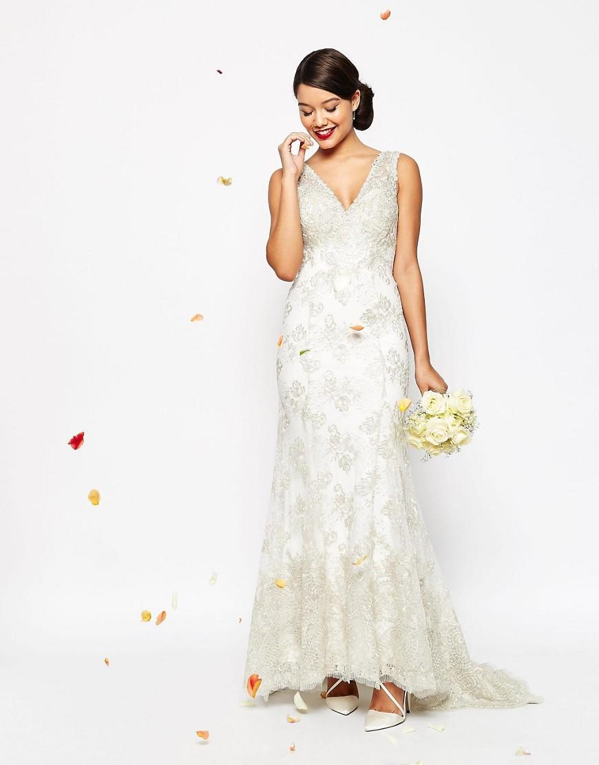 Vintage Lace Fishtail Wedding Dress Under $1000