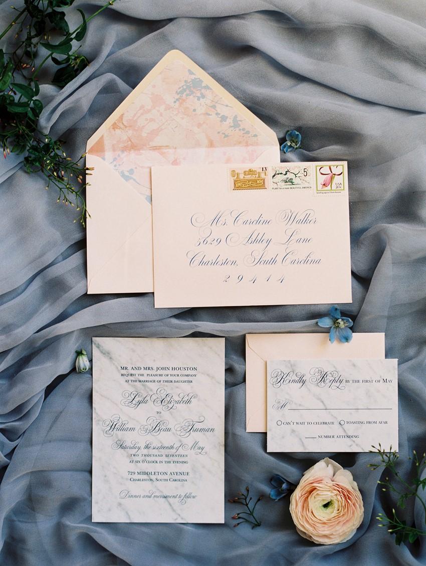 spring wedding colour scheme - Romantic Serenity & Rose Quartz Wedding Stationery \\ Photography - Charla Storey