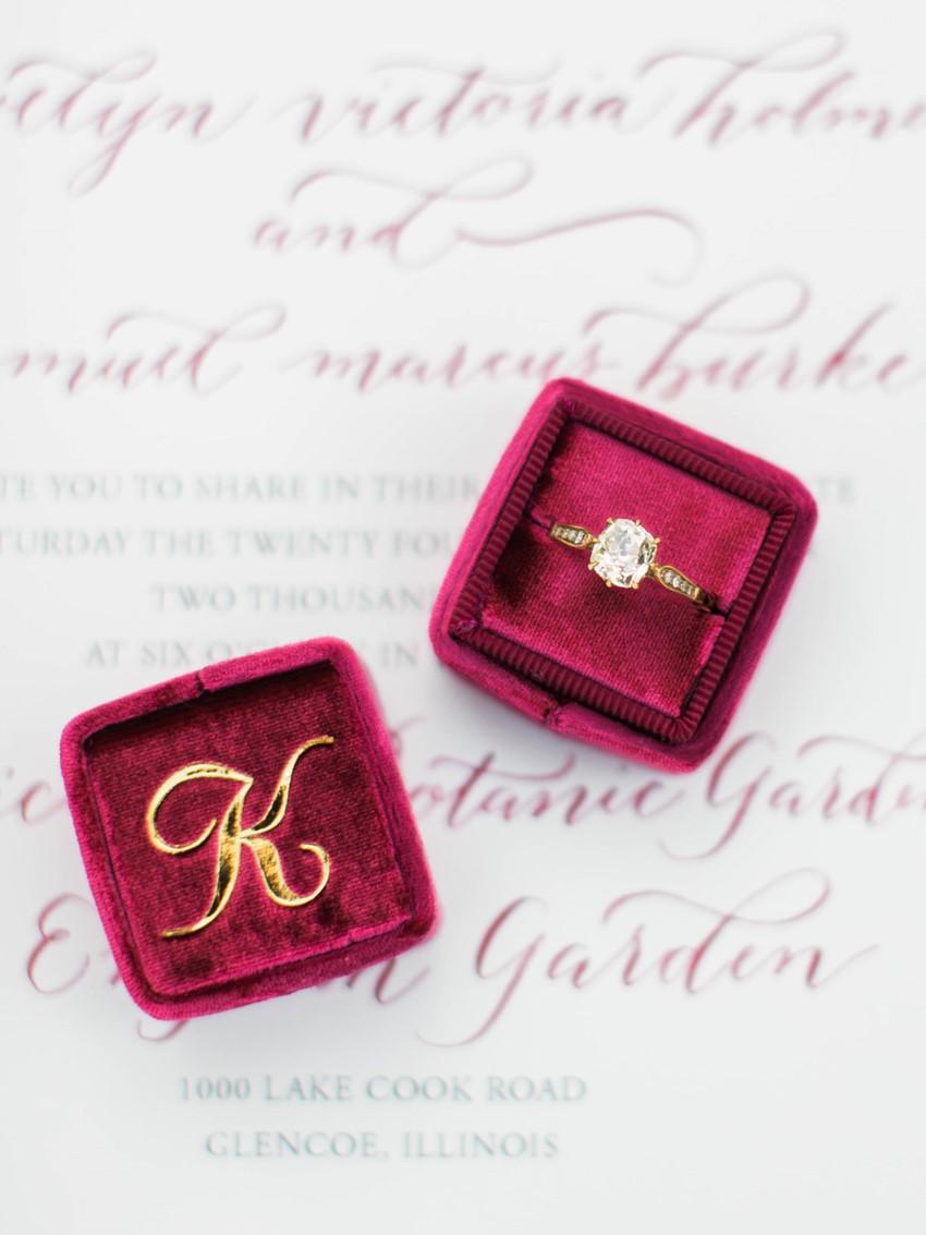 Diamond Engagement Ring in a Vintage Velvet Ring Box // Photography ~ Kristin La Voie Photography