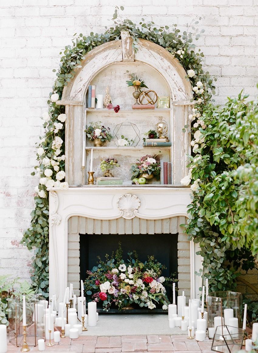 Olde World Elegant Fireplace Aisle Backdrop // Photography ~ Rebecca Yale Photography