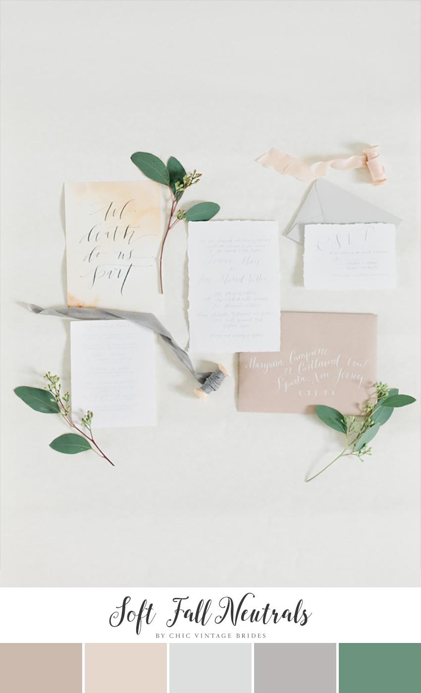 Soft Fall Neutrals Minimalist Wedding Color Palette || Wedding Colours