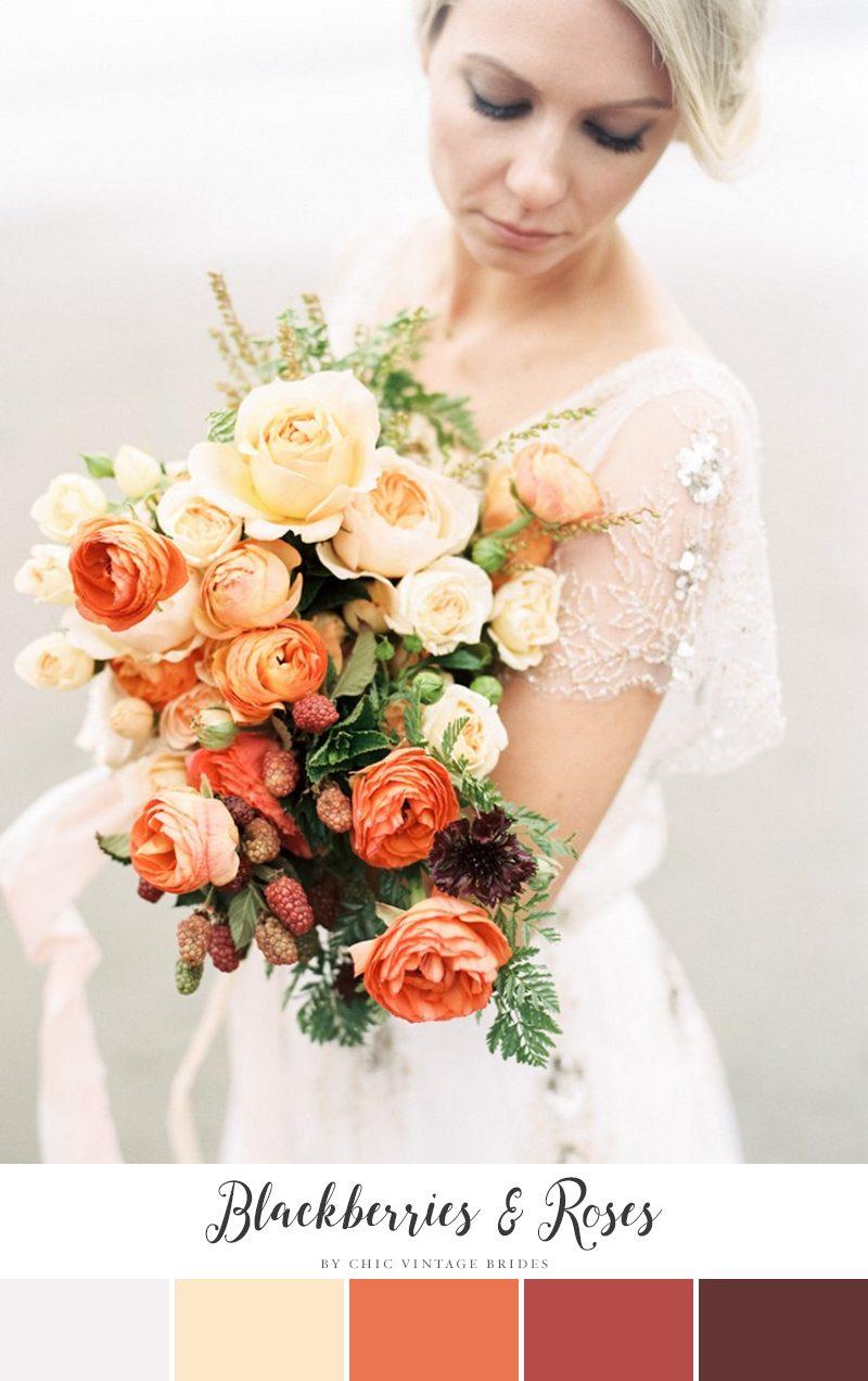 Blackberries & Roses Fall Wedding Color Palette || Fall Wedding Ideas || Fall Bridal Bouquet