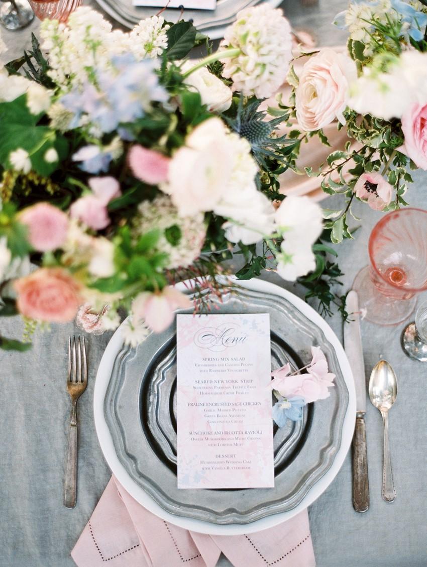 spring wedding colour scheme - Serenity Blue & Rose Quartz Wedding Place Setting \\ Photography - Charla Storey