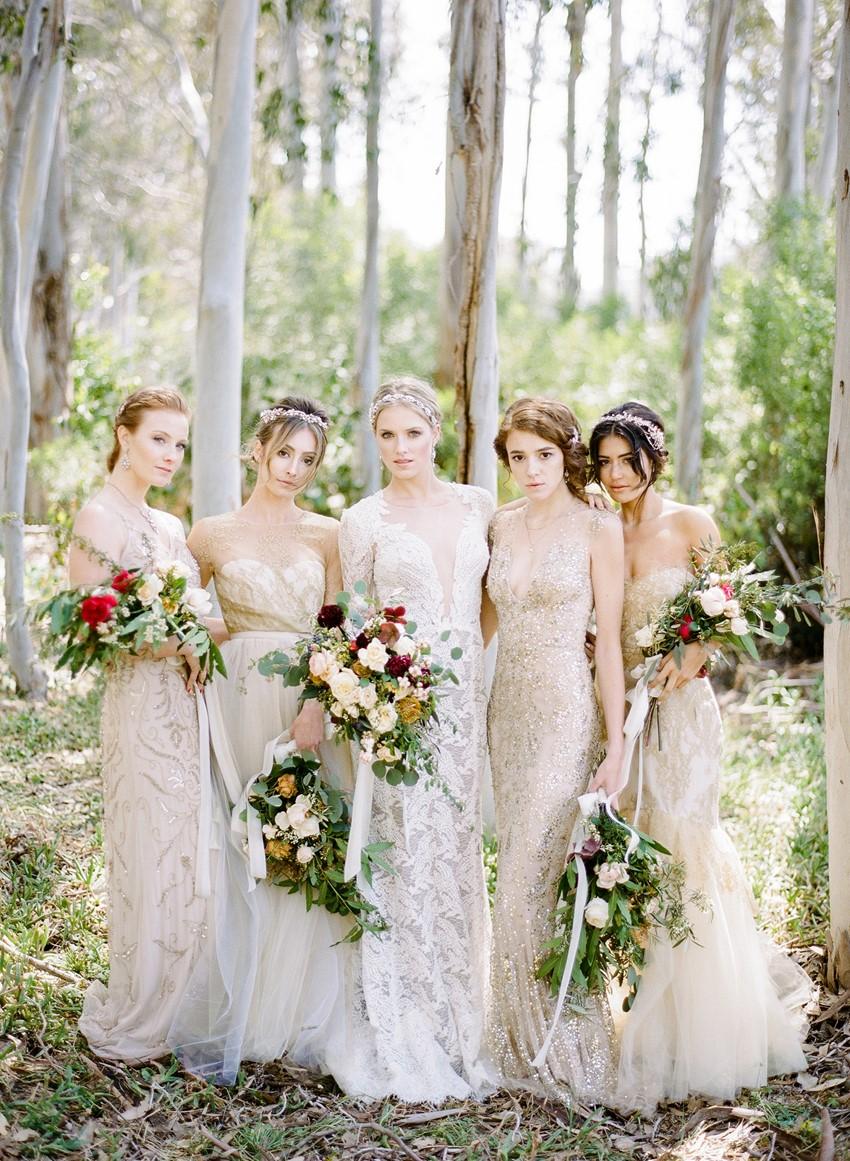 Elegant Mismatched Bridesmaid Dresses // Photography ~ Rebecca Yale Photography