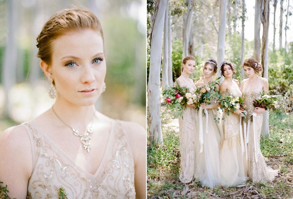 Elegant Mismatched Gold Bridesmaids Dresses // Photography ~ Rebecca Yale Photography