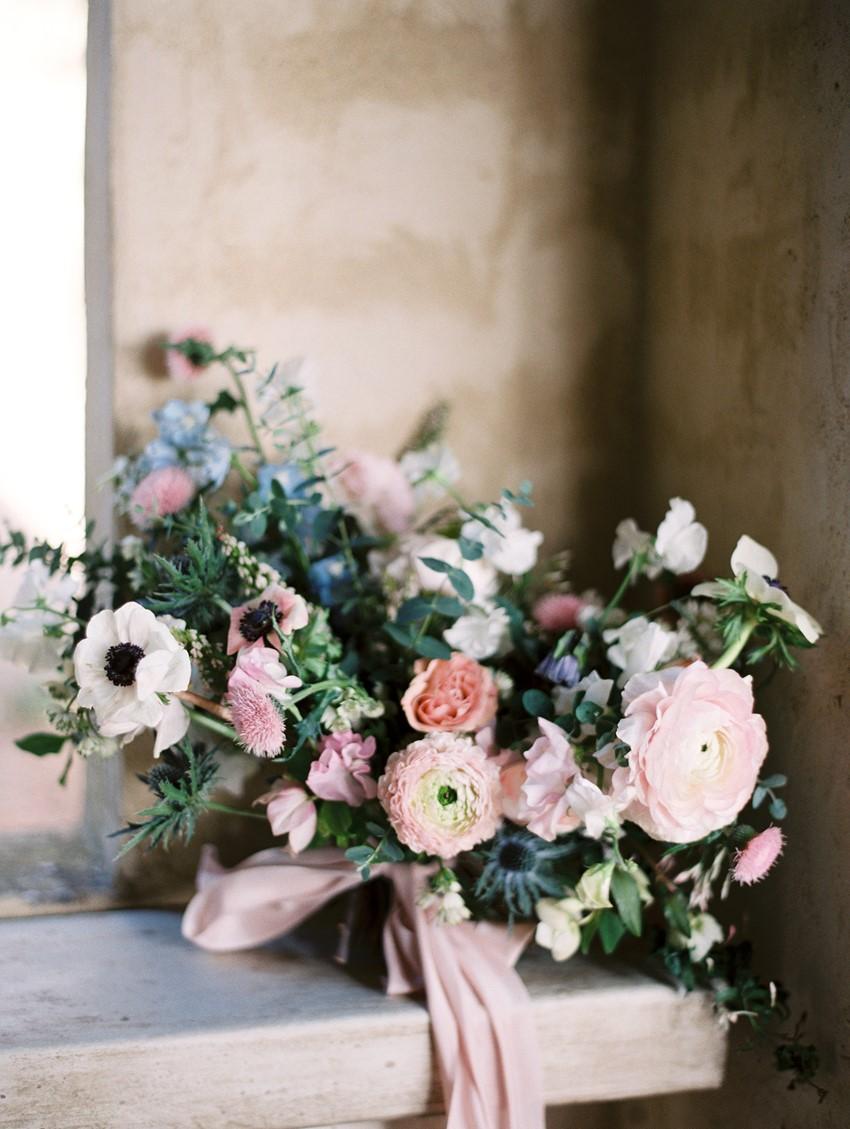 Romantic Serenity Blue & Rose Quartz Bridal Bouquet \\ Photography - Charla Storey