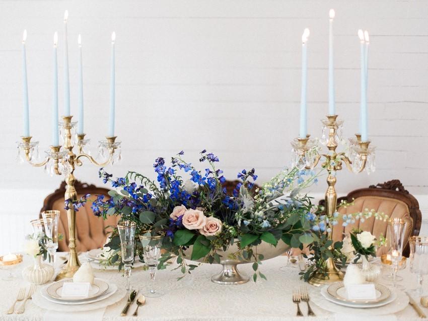 Blue & Blush Wedding Tablescape // Photography ~ Live View Studios