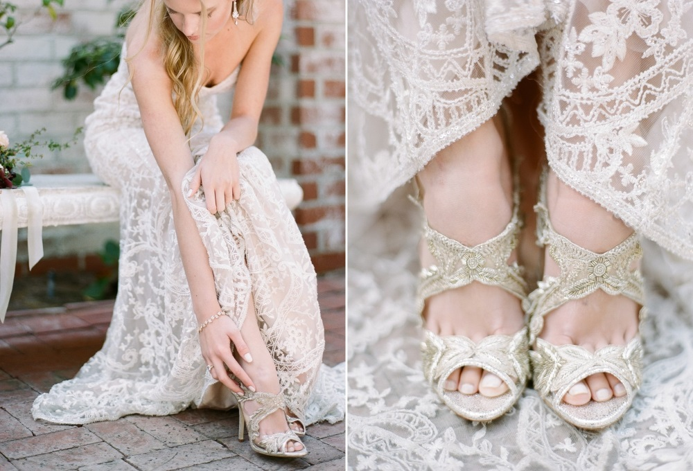 Elegant Gold Lace Bridal Shoes // Photography ~ Rebecca Yale Photography