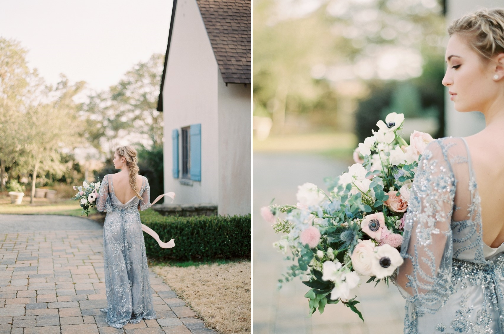 Romantic Serenity Blue & Rose Quartz Bridal Look \\ Photography - Charla Storey