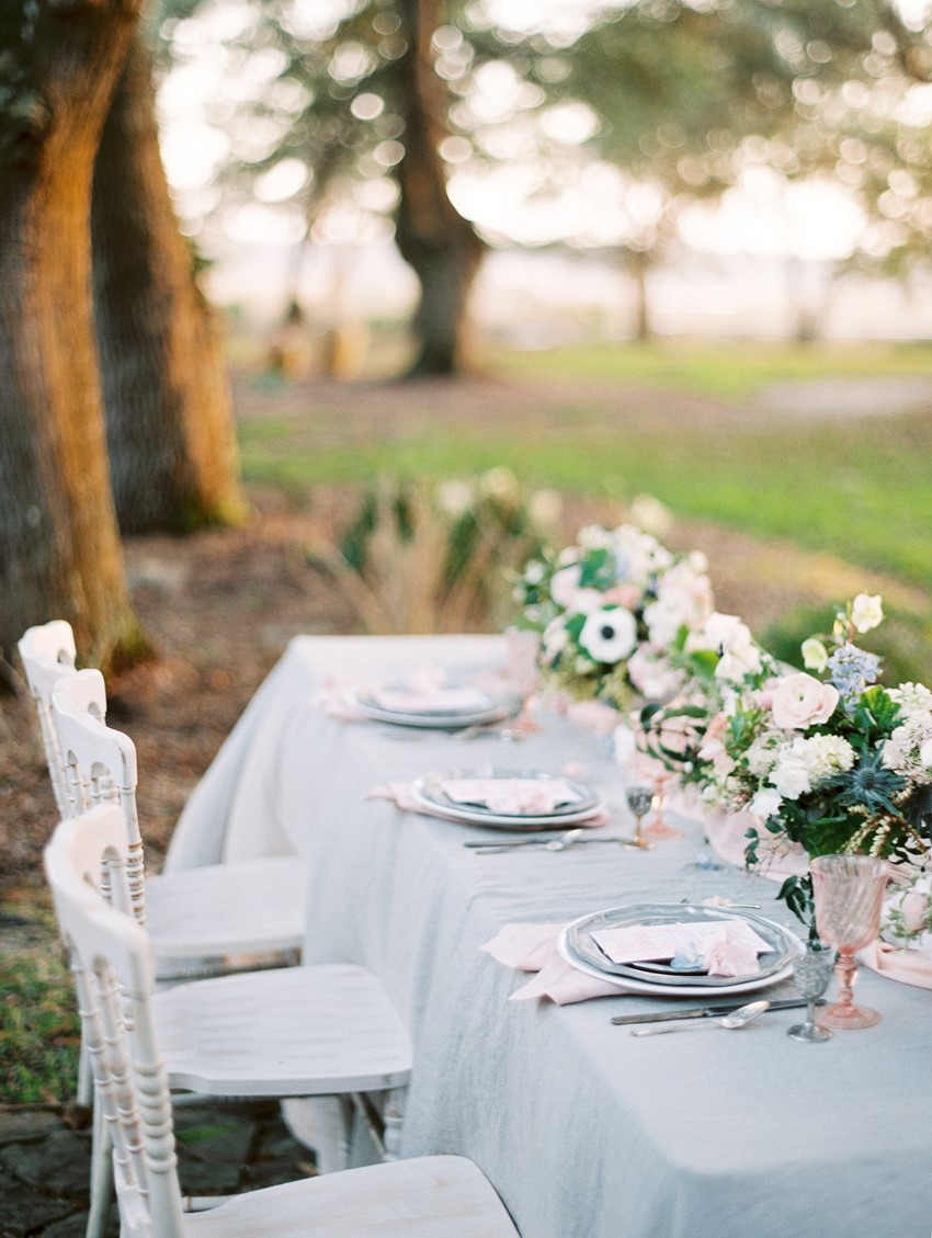 Serenity Blue & Rose Quartz Wedding Tablescape \\ Photography - Charla Storey