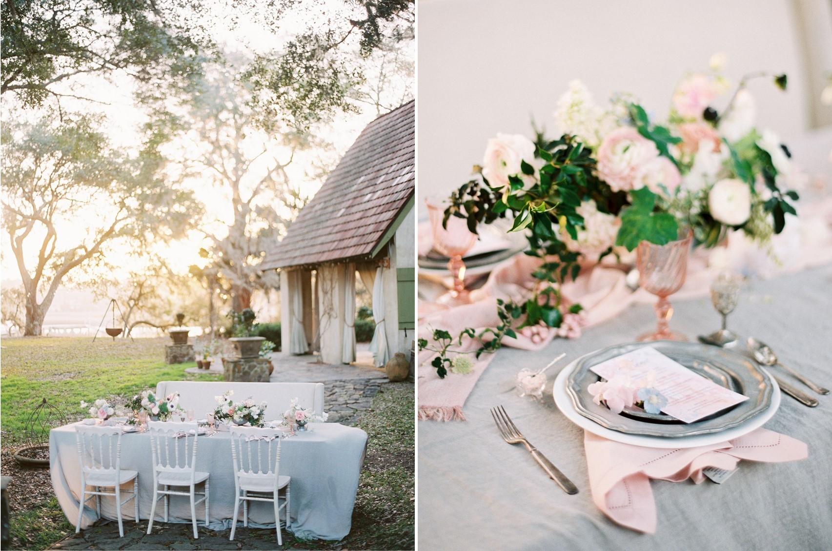 Serenity Blue & Rose Quartz Wedding Floral Centrepiece \\ Photography - Charla Storey