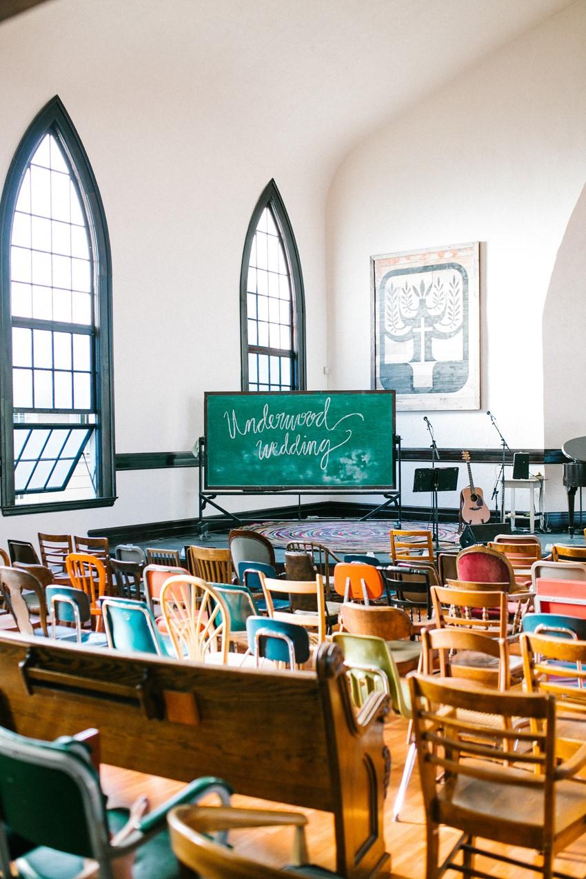 Vintage Church Wedding Ceremony Seating // Photography ~ Maria Lamb
