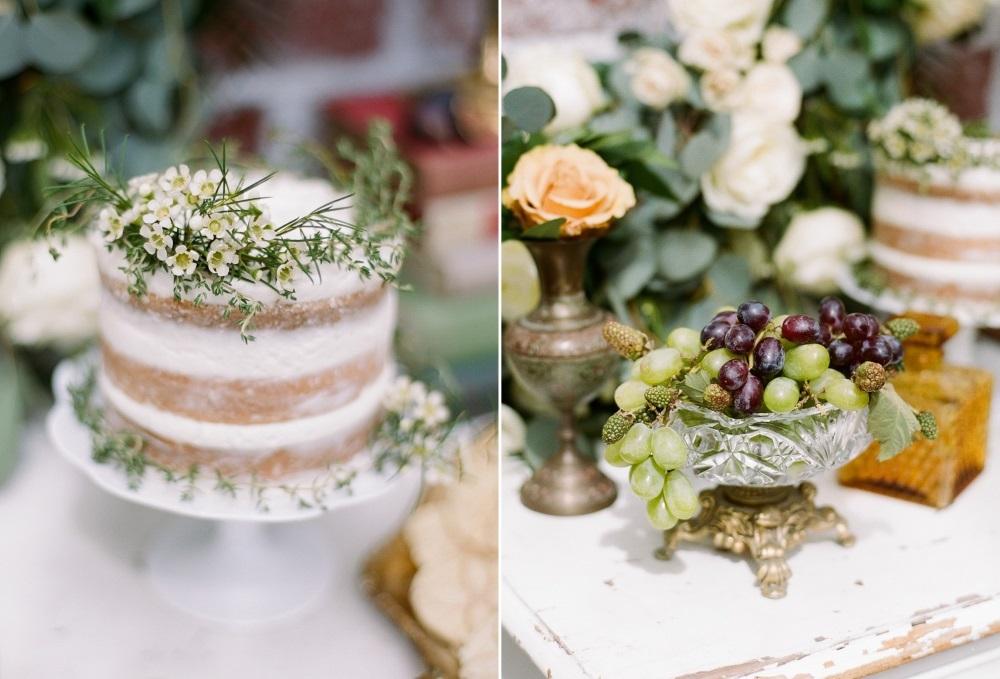 One Tier Naked Wedding Cake // Photography ~ Rebecca Yale Photography