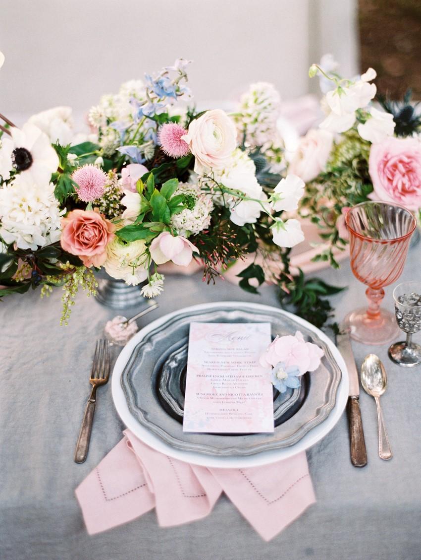 Serenity Blue & Rose Quartz Wedding Place Setting \\ Photography - Charla Storey