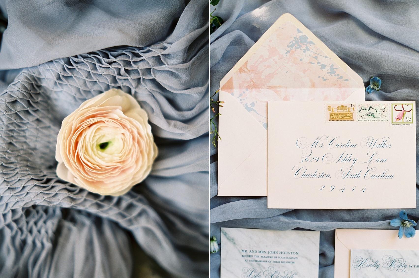 Romantic Serenity & Rose Quartz Wedding Stationery \\ Photography - Charla Storey