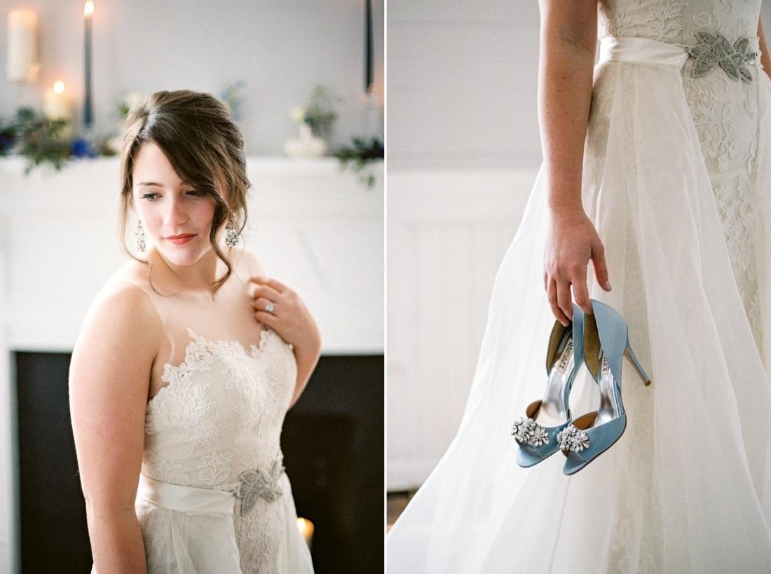 Soft Bridal Makeup & Pale Blue Bridal Shoes // Photography ~ Live View Studios