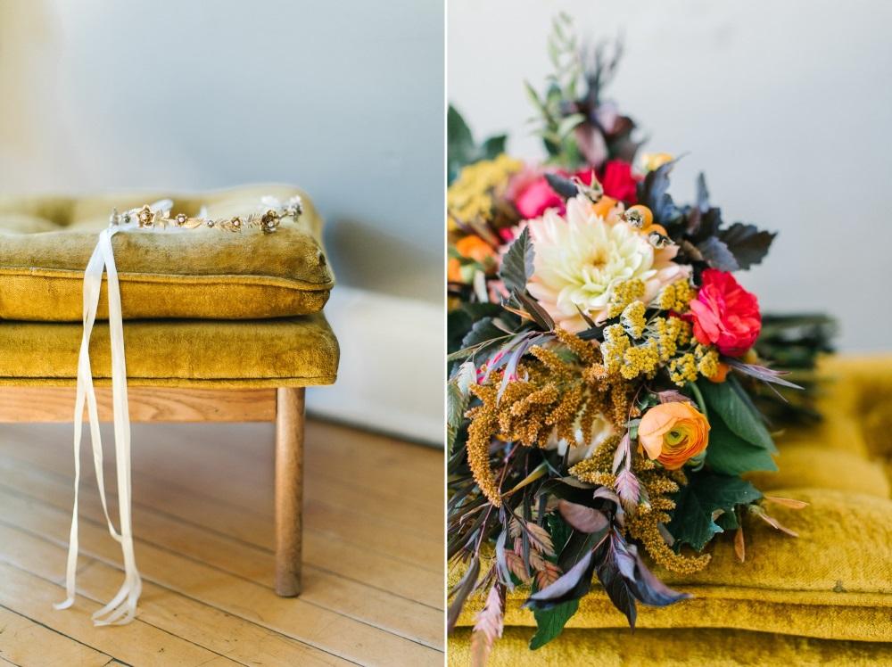 Bridal Headband & Bouquet // Photography ~ Maria Lamb