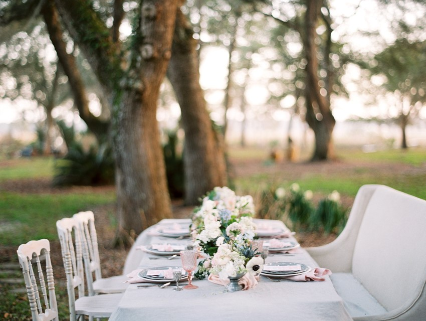 Serenity Blue & Rose Quartz Wedding Tablescape \\ Photography - Charla Storey
