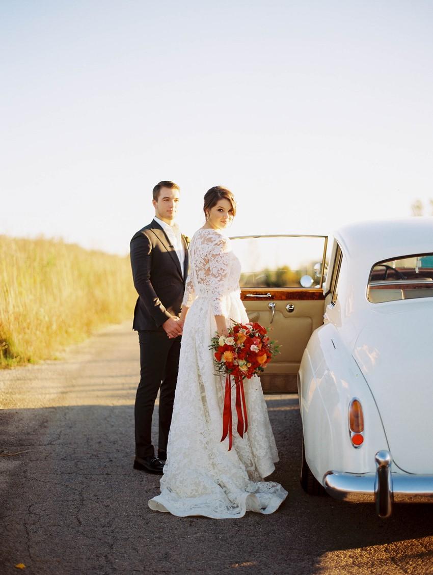 Romantic Fall Wedding Vintage Getaway Car // Photography ~ Kristin La Voie Photography
