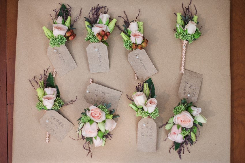 Blush & Berry Boutonnieres // Photography ~ Meredith Lord Photography