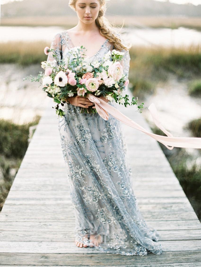 Romantic Bridal Bouquet & Blue Wedding Dress \\ Photography - Charla Storey