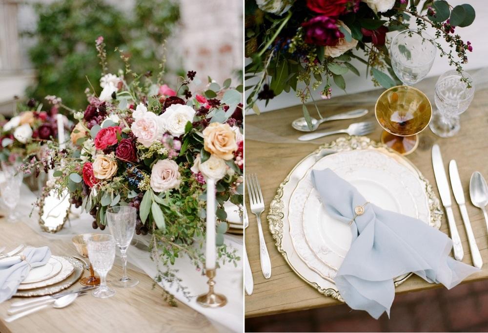 Gold Wedding Place Setting // Photography ~ Rebecca Yale Photography