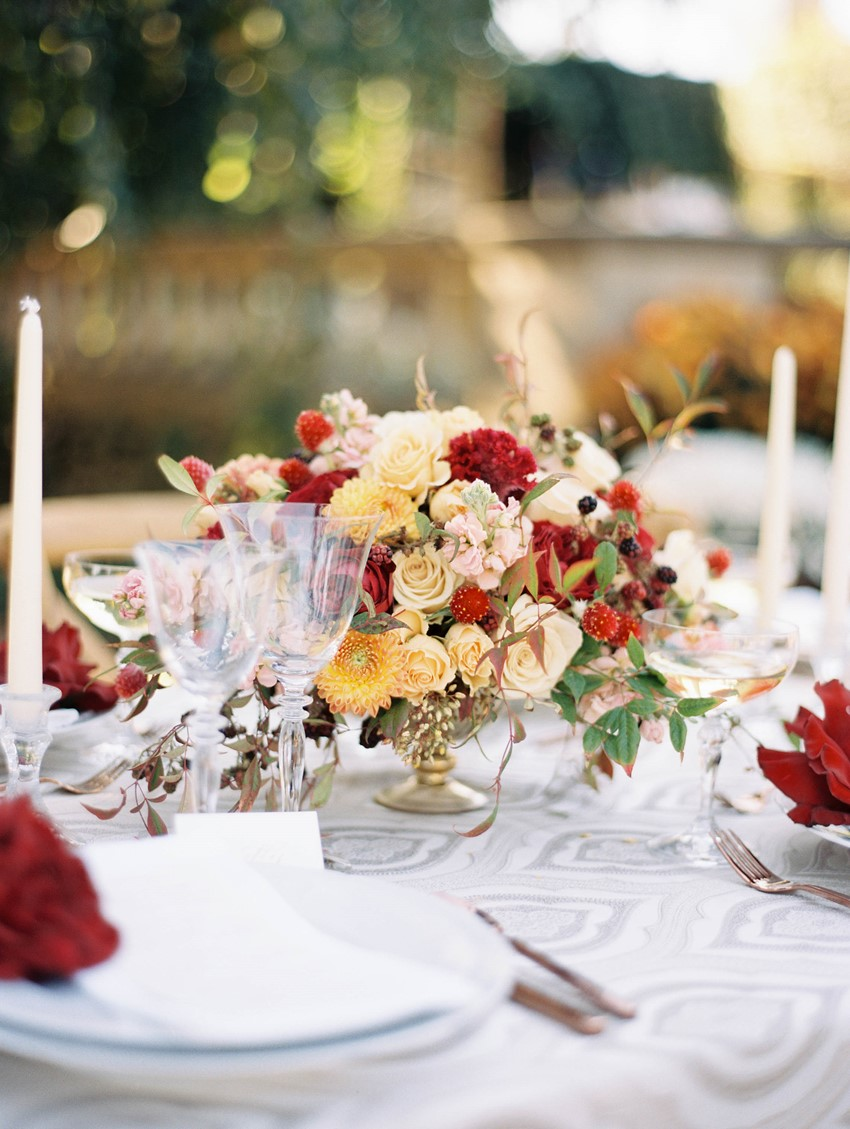 Fall Floral Wedding Centrepiece // Photography ~ Kristin La Voie Photography