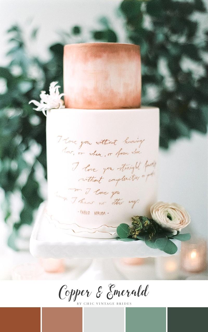Copper & Emerald Fall Wedding Colour Palette || Autumn Wedding Colours || Fall Wedding Ideas || Autumn Wedding Cake