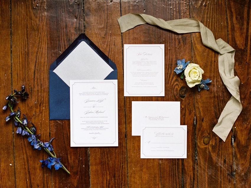 Letterpress Blue Wedding Stationery // Photography ~ Live View Studios