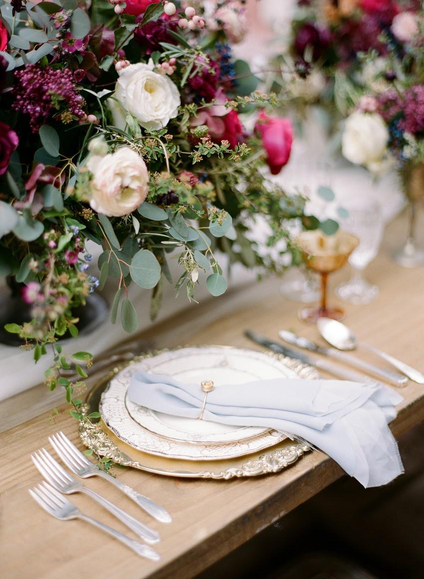 Elegant Gold Wedding Place Setting // Photography ~ Rebecca Yale Photography