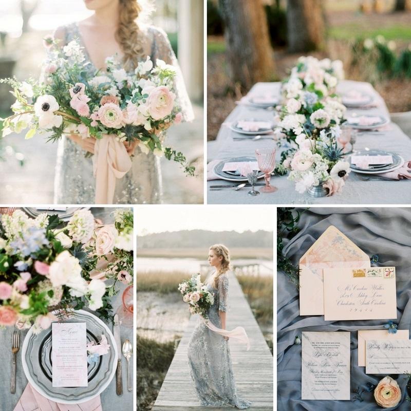 spring wedding colour scheme - Romantic Serenity & Rose Quartz Wedding Inspiration