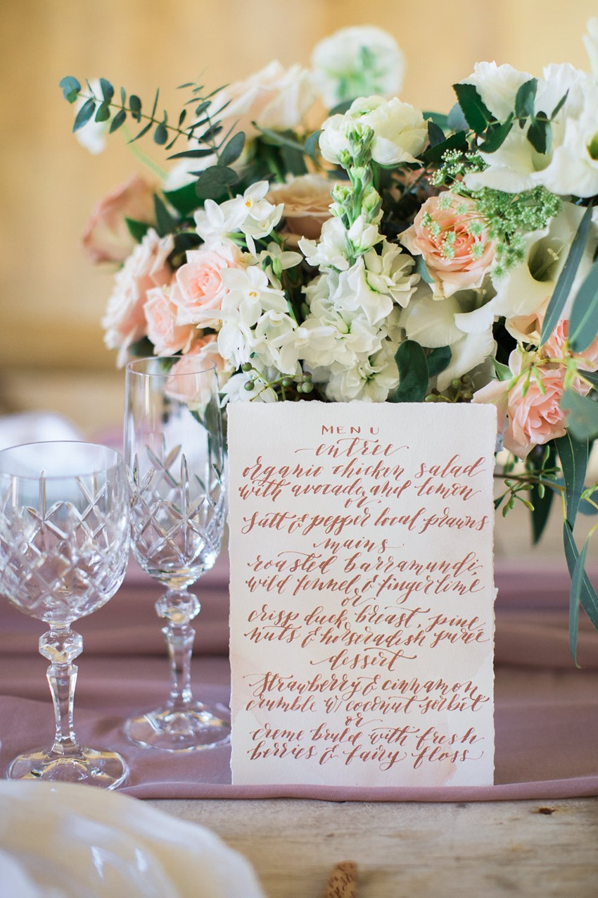 Calligraphy Wedding Menu // Photography ~ White Images