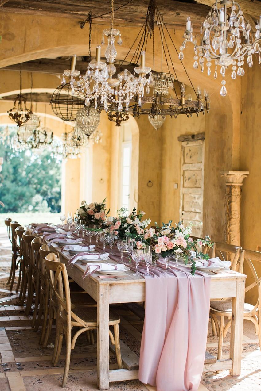 Romantic Pale Pink & Purple Wedding Tablescape // Photography ~ White Images