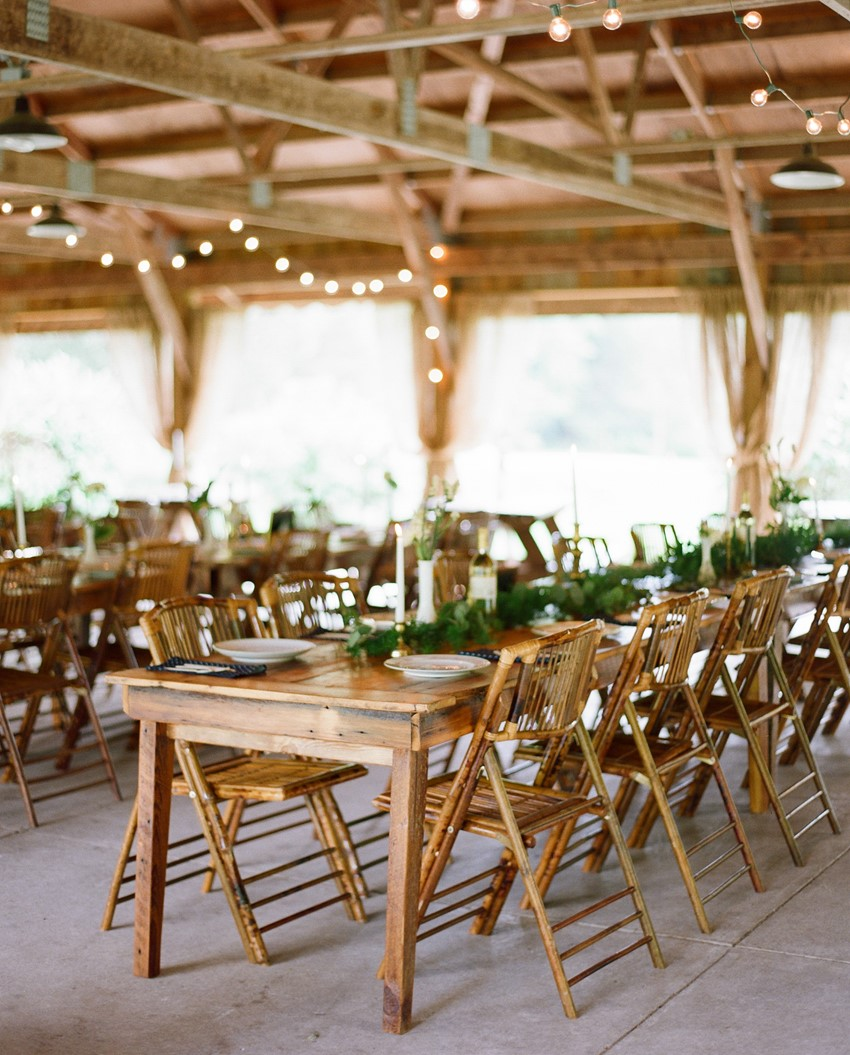 Rustic Wedding Reception Venue with Greenery // Photography ~ Emily Steffen