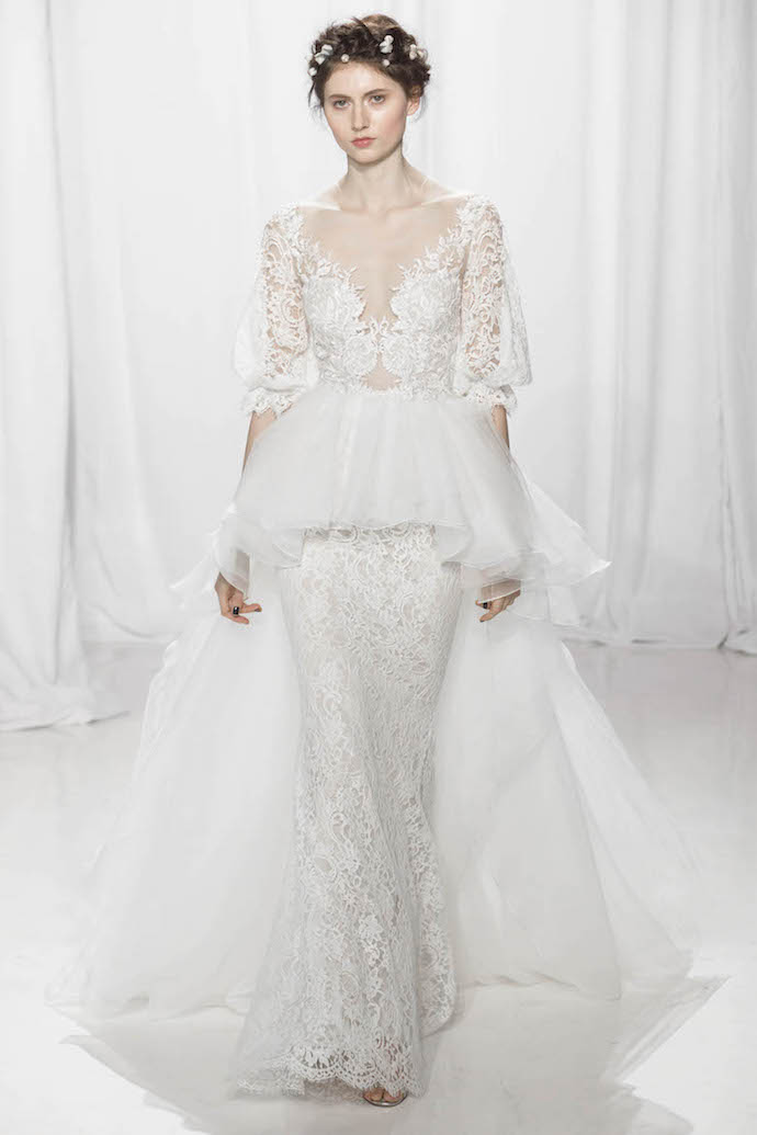 Stunning Long Sleeve Lace Wedding Dress with Peplum from Reem Acra