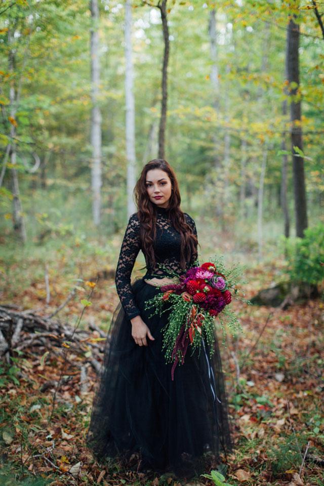 2 Piece Black Wedding Dress