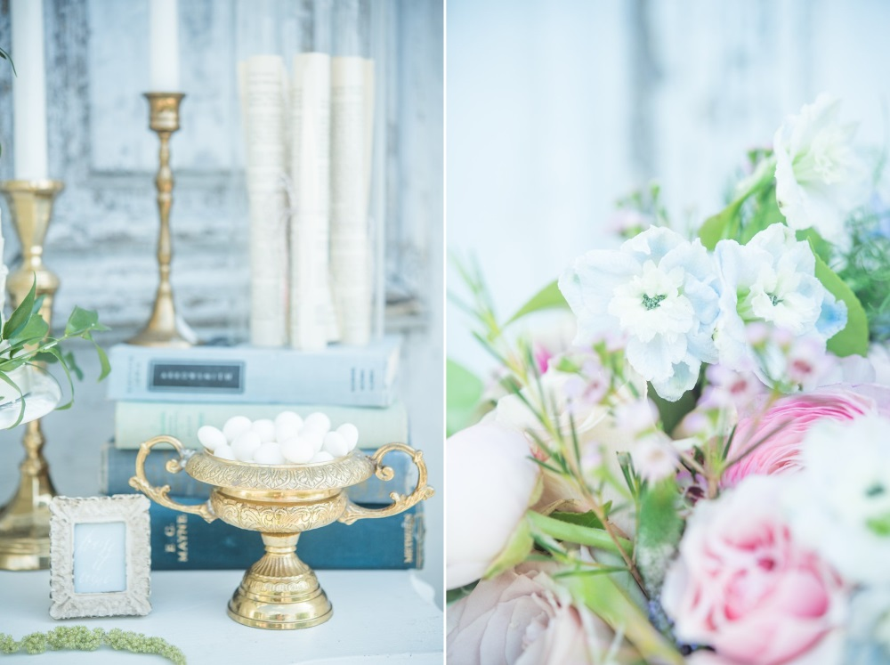 Vintage Pastel Pink & Blue Wedding Flowers // Photography ~ Injoy Imagery