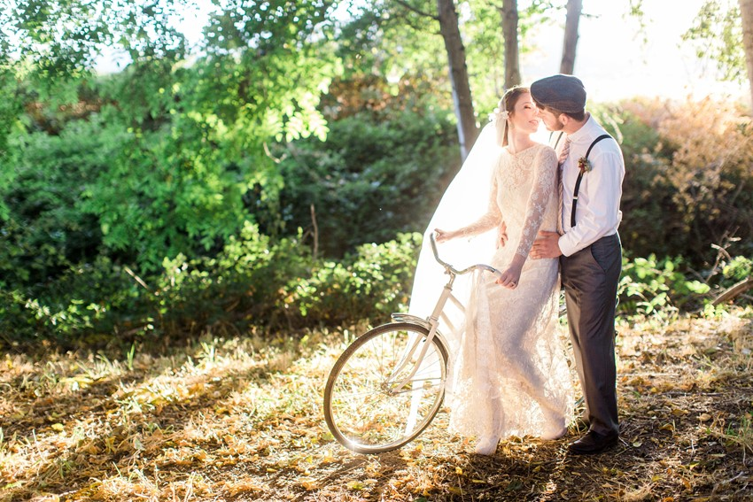 Vintage Bride & Groom on a Bike // Photography ~ Anna Scott Photography