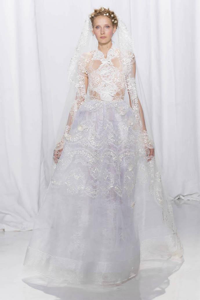 Delicately coloured wedding dress